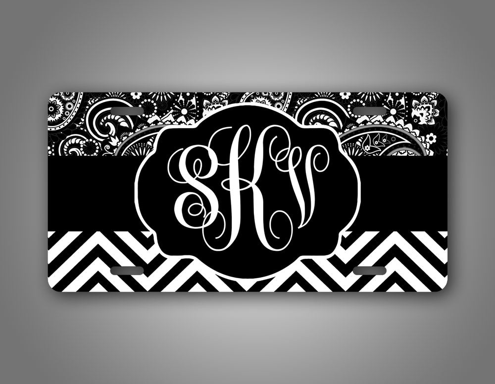 Personalized Paisley Striped Monogram License Plate
