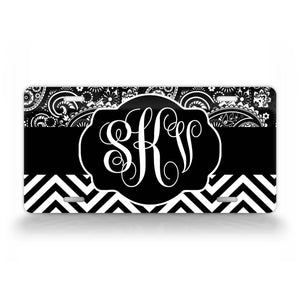 Personalized Black Grey Scale Monogram License Plate