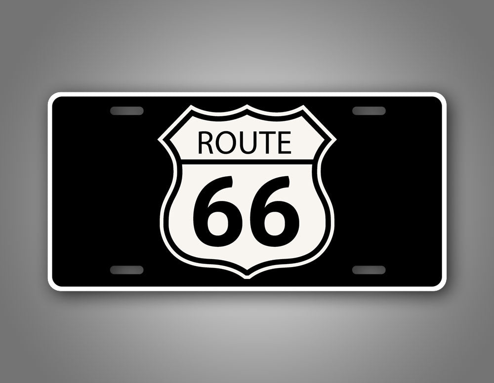 Route 66 Black And White Auto Tag