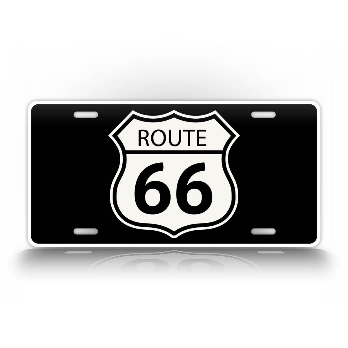 Classic Black And White Route 66 License Plate