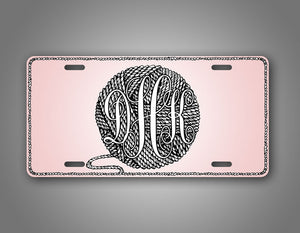Custom Text Pink Ball Of Yarn Monogram License Plate