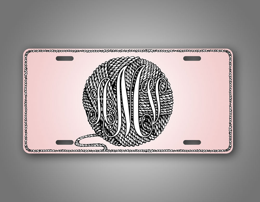 Personalized Text Pink Knitting Crocheting License Plate