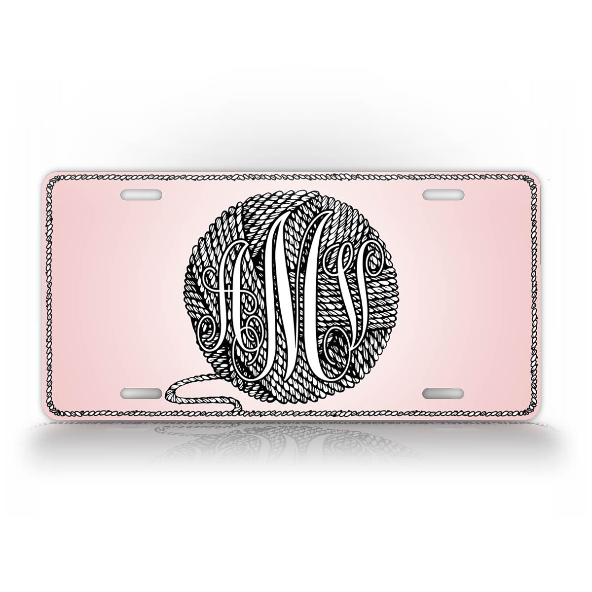 Personalized Pink Ball Of Yarn Monogram Auto Tag