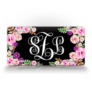 Custom Black Floral Monogram License Plate