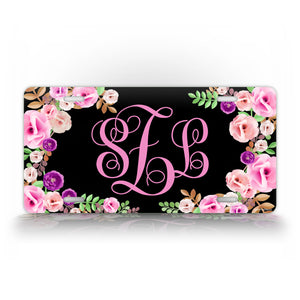 Personalized black Floral Auto Tag