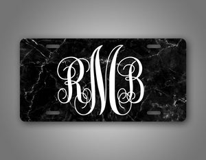 Personalized Black Marble Monogram Auto Tag