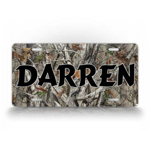 Black Text Camo Hunting License Plate