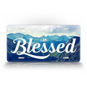Blessed Mountain Background Beautiful License Plate