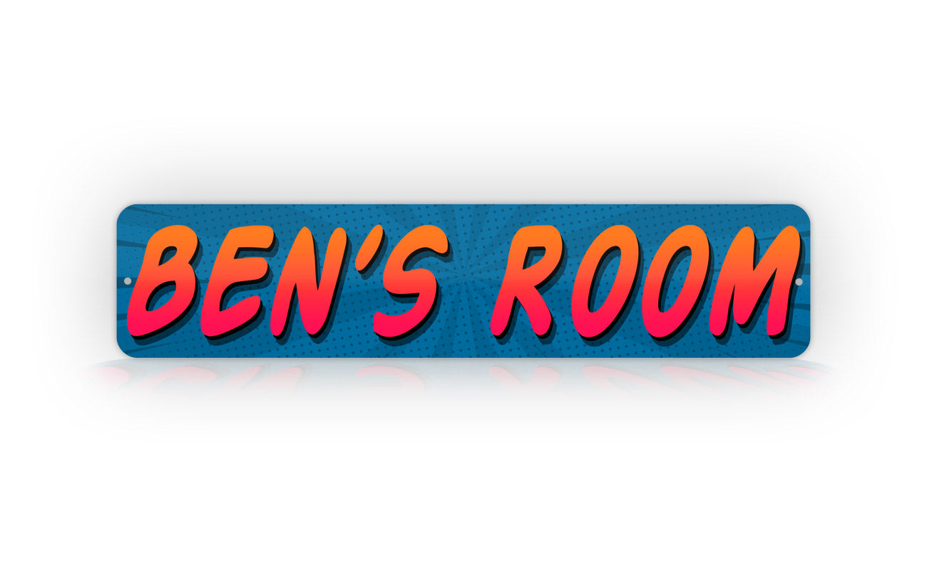 Blue Kids Room Name Comic Style Any Text Street Sign
