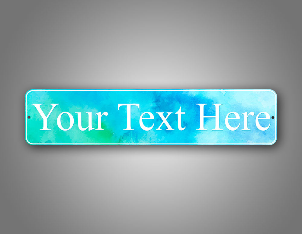 Custom Any Text Stylish Room Decorator Blue Watercolor Street Sign