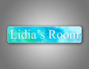 Personalized Any Text Stylish Room Decorator Blue Watercolor Street Sign