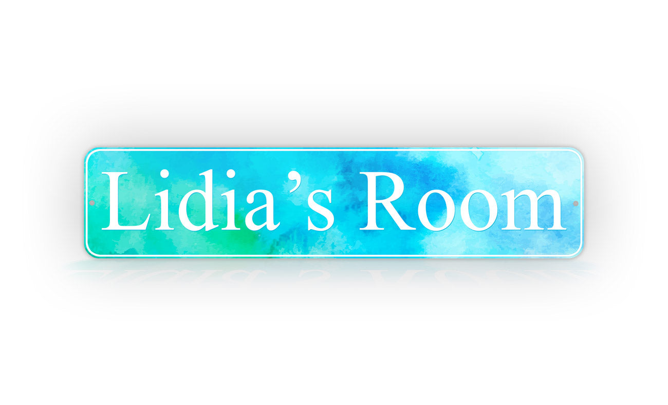 Personalized Stylish Room Decorator Blue Watercolor Street Sign