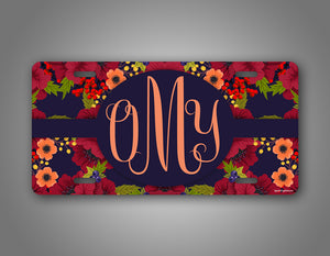 Autumn Flower Monogram Auto Tag