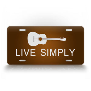 Brown Live Simply Minimalist Musician Guitar Auto Tag