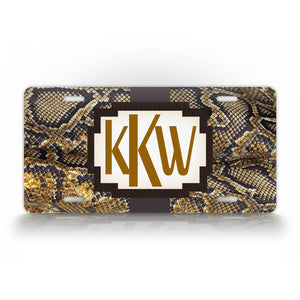 Custom Brown Snakeskin Monogram License Plate