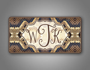Personalized Brown Snakeskin Monogram License Plate