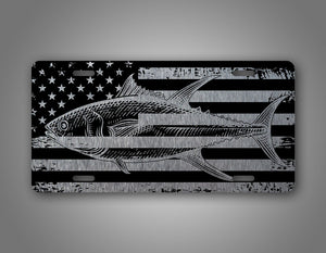 Tuna Fish American Flag License Plate