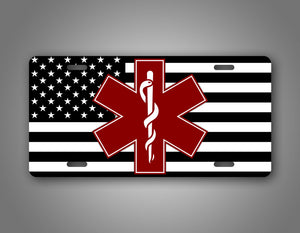 American Flag Burgundy Star Of Life EMT Auto Tag