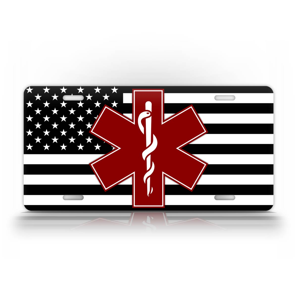 Black And White American Flag Burgundy Star Of Life EMT License Plate
