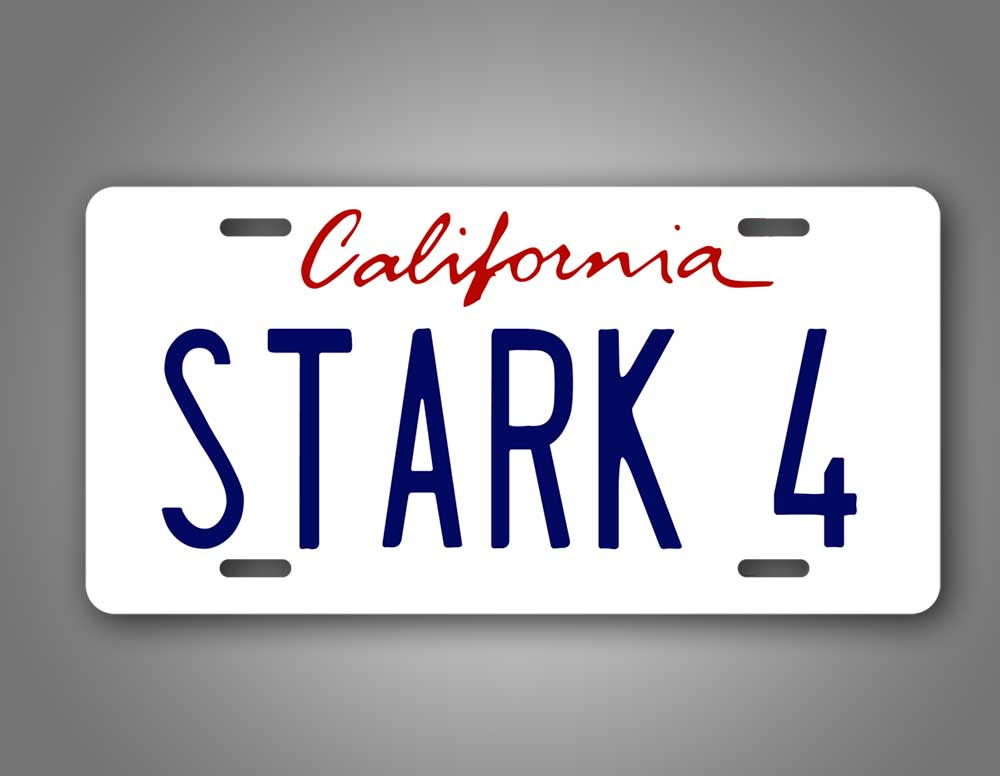 California Stark 4 Iron Man License Plate Marval Tony Stark Auto Tag