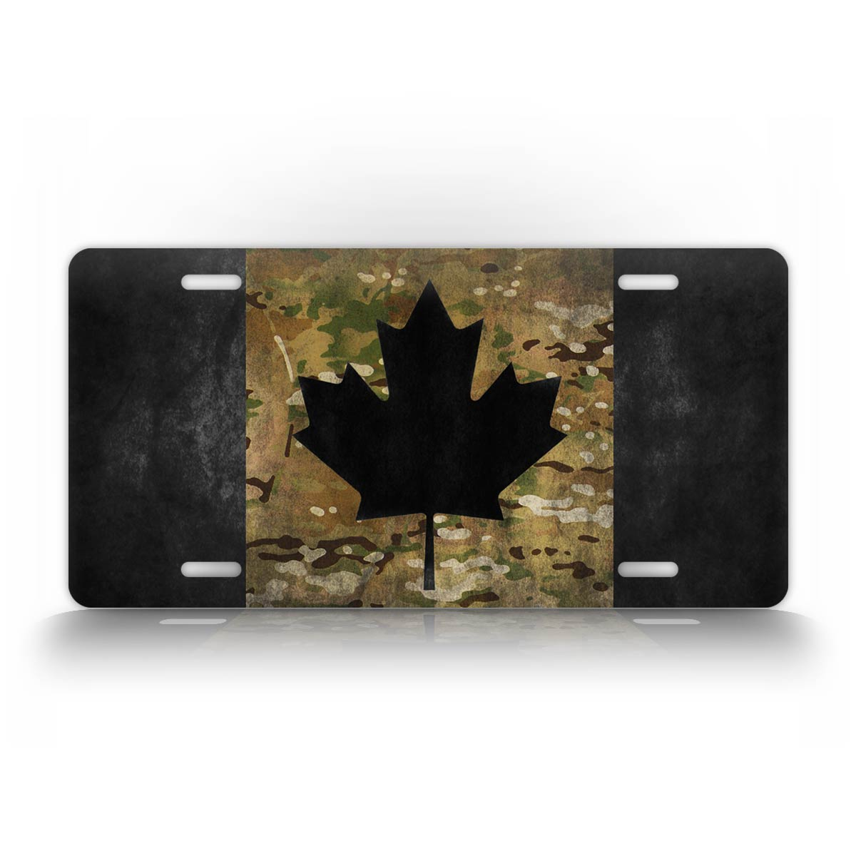Camo Canadian Flag License Plate
