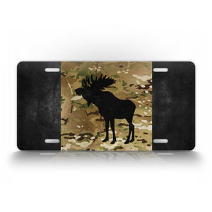 Camo Canadian Flag Moose License Plate