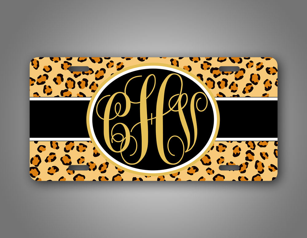 Cheetah Skin Monogram License Plate