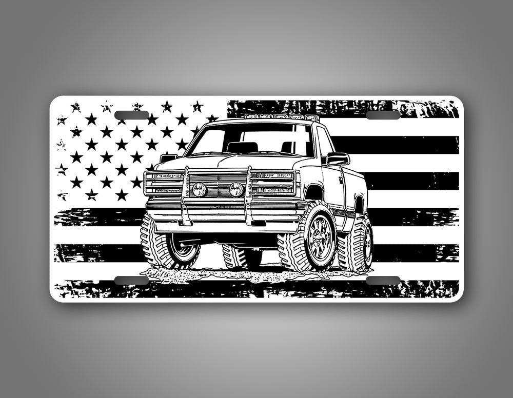 4x4 Chevy Square Body Truck On A Black And White American Flag