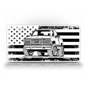 Chevy Square Body Pickup Truck American Flag License Plate