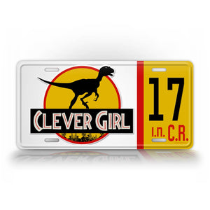 Jurassic World Style Clever Girl Dinosaur License Plate