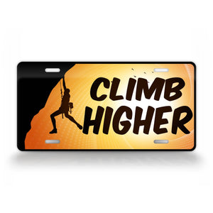 Rock Climber License Plate Climb Higher Mountain Climber