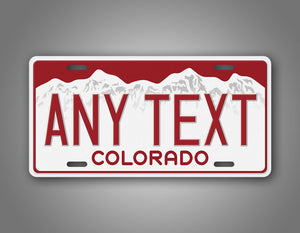 Any Text Red Colorado Custom License Plate