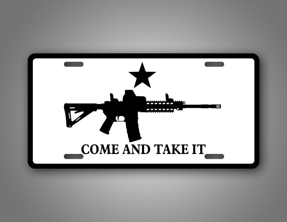 Black And White Come And Take It Tactical License Plate Tag