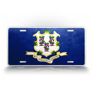 Connecticut State Flag Weathered Metal License Plate