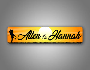 Cute Personalized Couples Names With Couples Silhouette Street Sign