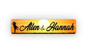 Cute Personalized Couples Names With Sunset Background Street Sign