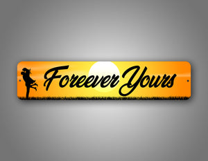 Adorable Personalized Couples Names With Sunset Background Street Sign