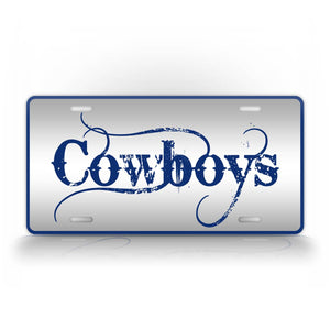 Blue Cowboys Themed Auto Tag