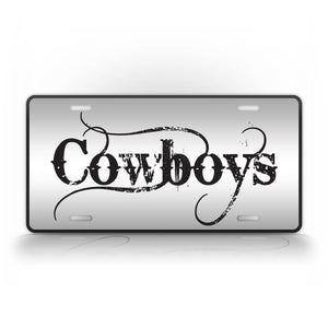 Black Football Cowboys License Plate