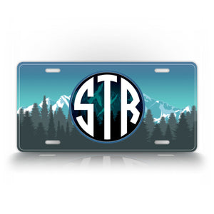 Beautiful Mountain Adventure Monogram License Plate