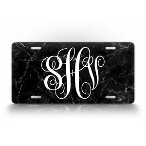 Customized Any Text Black Marble Monogram License Plate