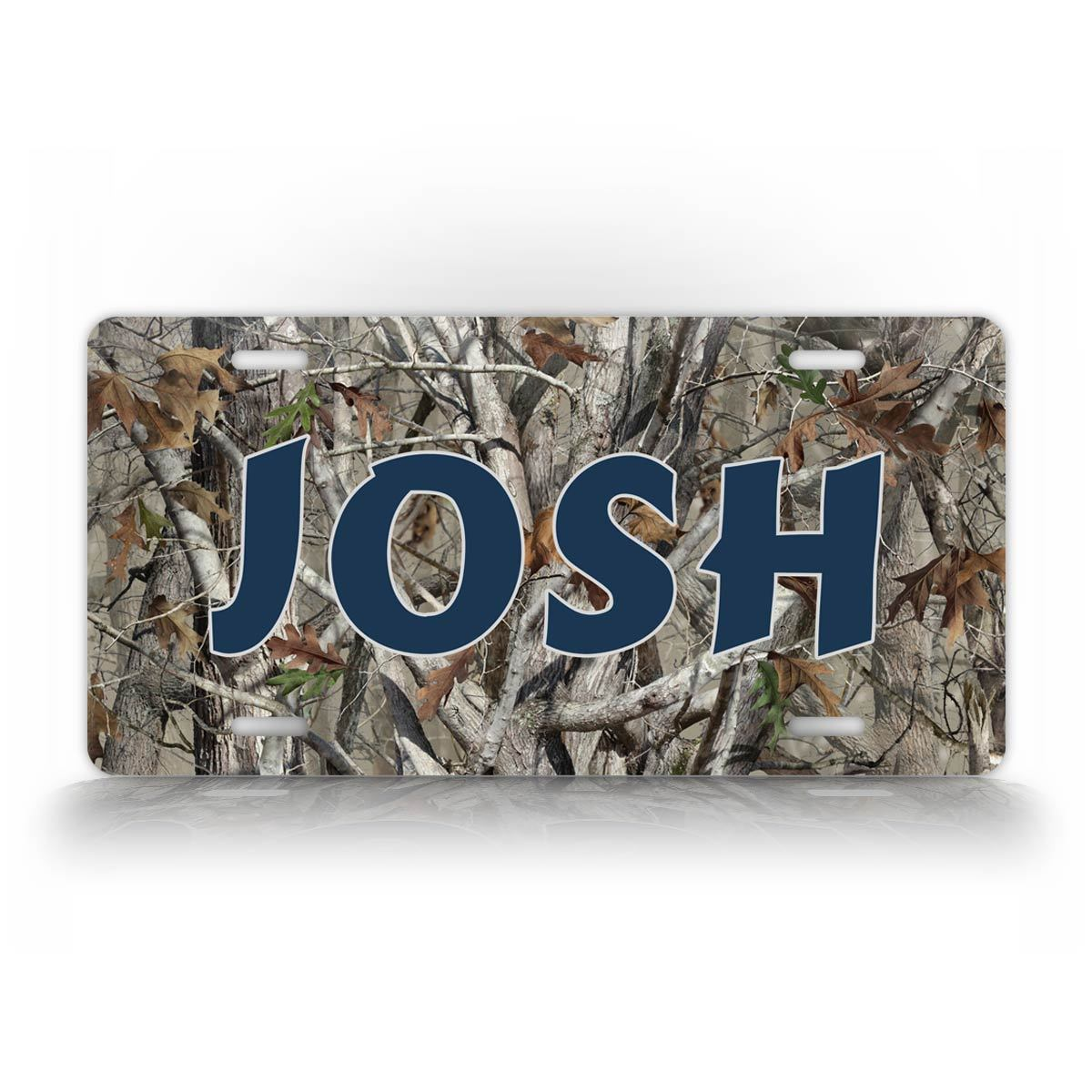 Blue Text Camo Hunting License Plate
