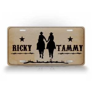 Custom Western Cowboy License Plate Any Name Couples Auto Tag