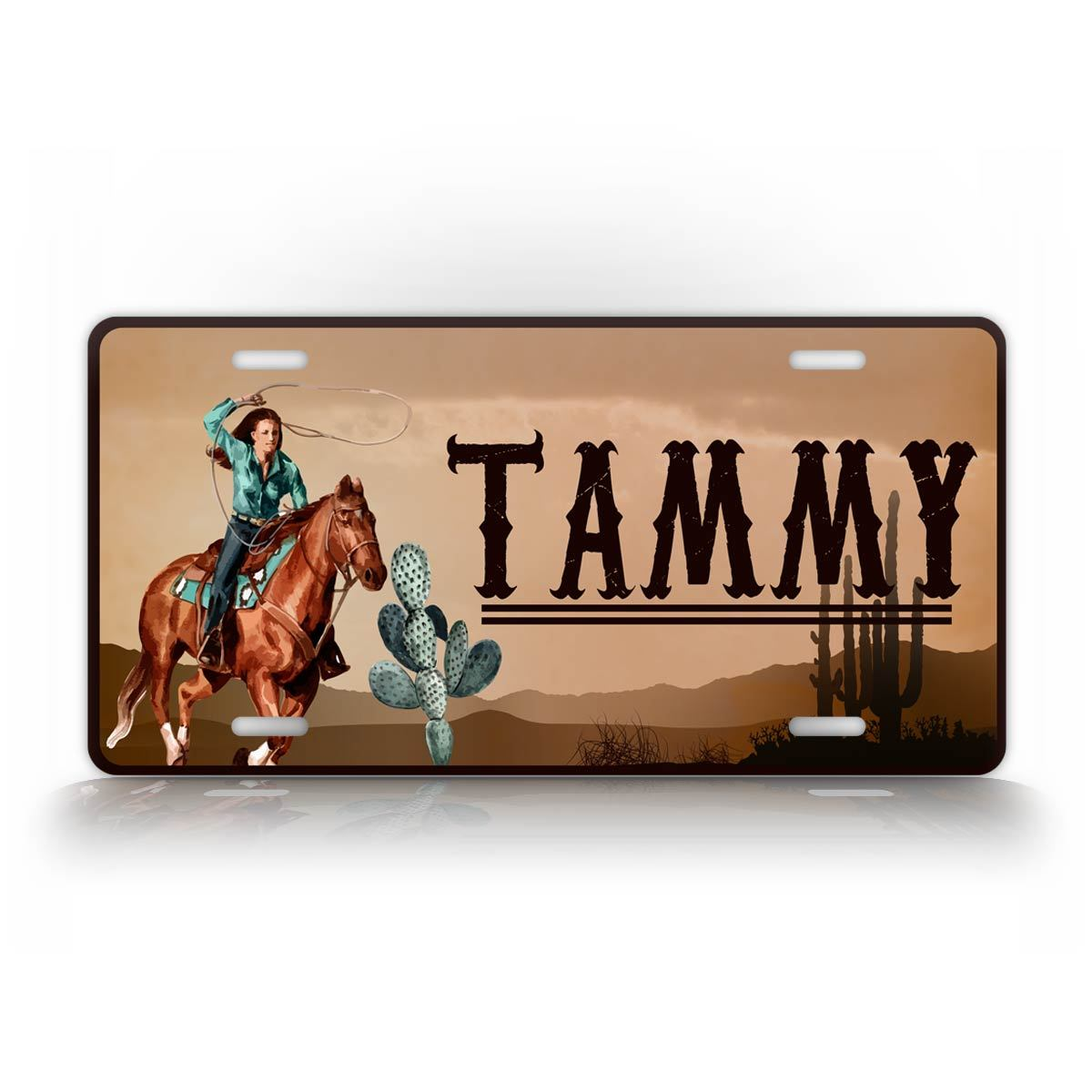 Custom Text Western Cowyboy Cowgirl License Plate
