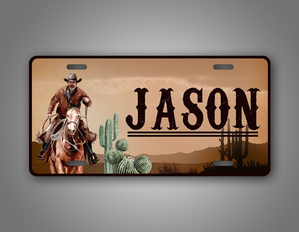Any Text Custom Western Cowyboy License Plate