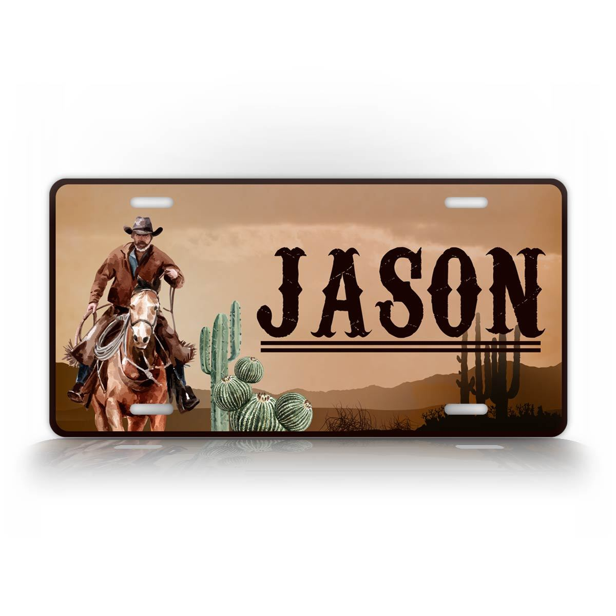 Custom Text Western Cowyboy Auto Tag License Plate