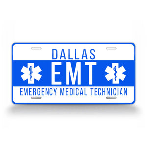 Personalized Emergency EMT Custom License Plate