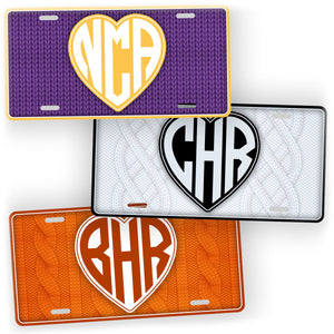 Personalized Yarn Heart Monogram Knitted or Crocheted License Plate