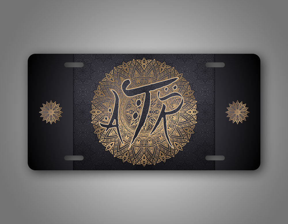 Monogrammed Luxury Arabic Mandala License Plate