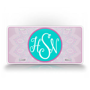 Custom Pink and Aqua Blue Mandala Design Monogram License Plate